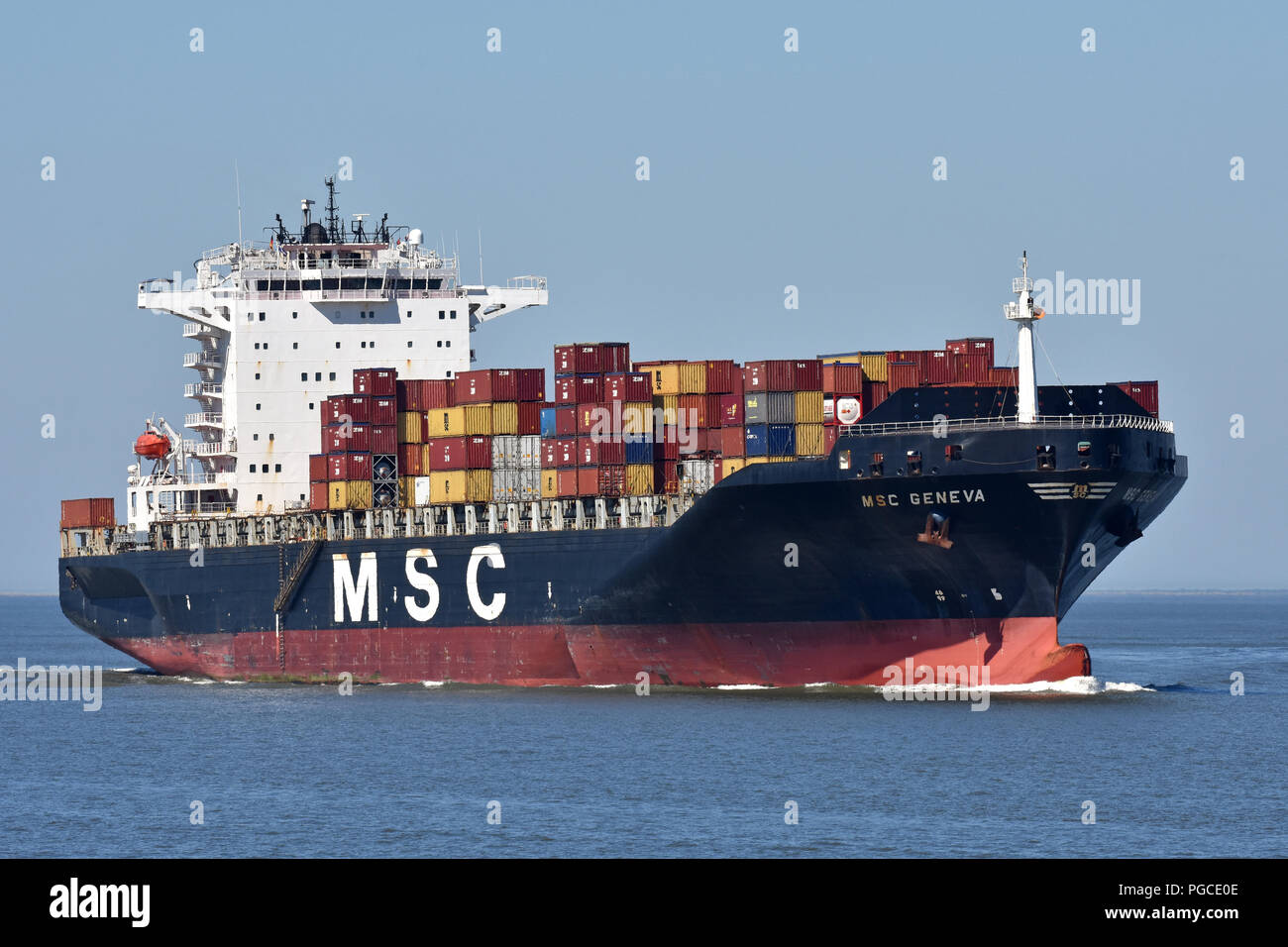 MSC Geneva passing Cuxhaven heading for Hamburg Stock Photo