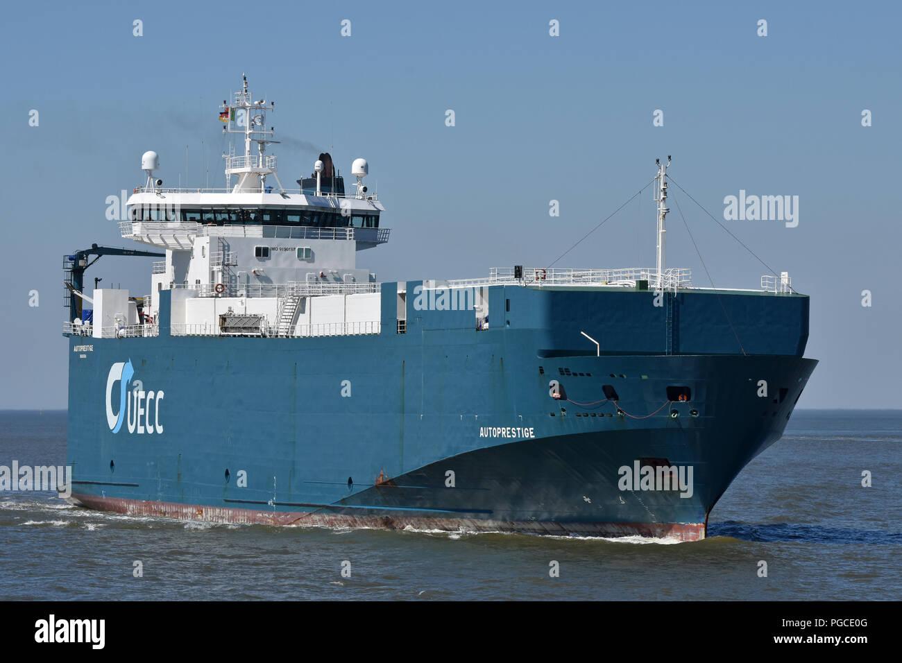 Carcarrier Autoprestige inbound port of CuxhavenStock Photo