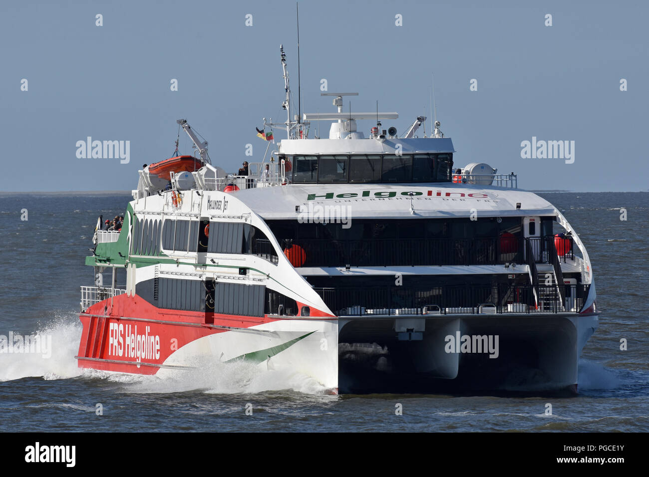 Highspeed-Ferry Halunder Jet returning to Cuxhaven from Helgoland Stock Photo