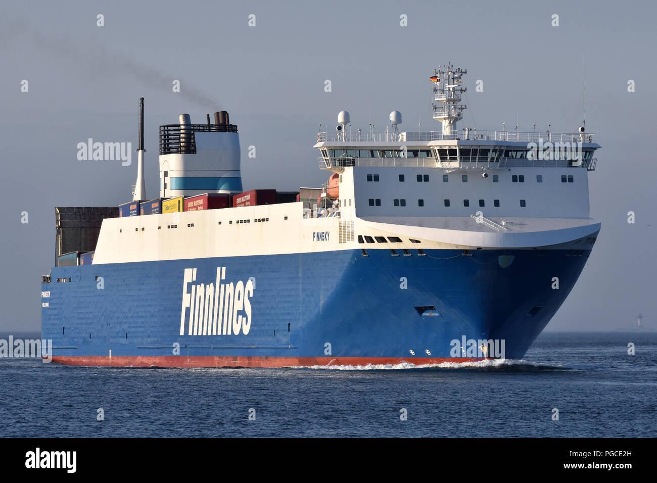 recently lengthened RoRo-Vessel Finnsky inbound for Kiel - Stock Image
