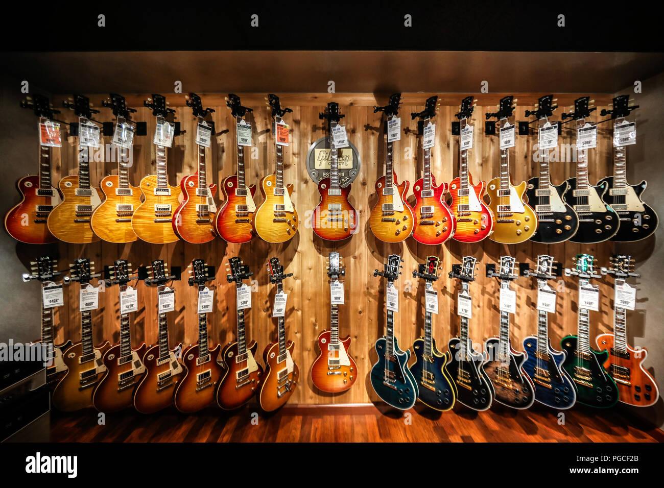 los angeles united states of america july 22 2017 guitars inside the guitar center on. Black Bedroom Furniture Sets. Home Design Ideas