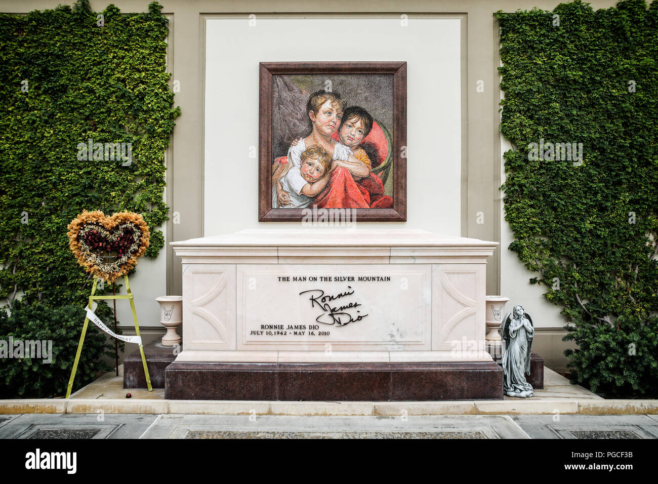 Los Angeles, United States of America - July 24, 2017:  Ronnie James Dio's grave at Forrest Lawn Memorial Park in Glendale. He was playing in several bands like Elf, Rainbow, Black Sabbath, Dio und Heaven and Hell. - Stock Image