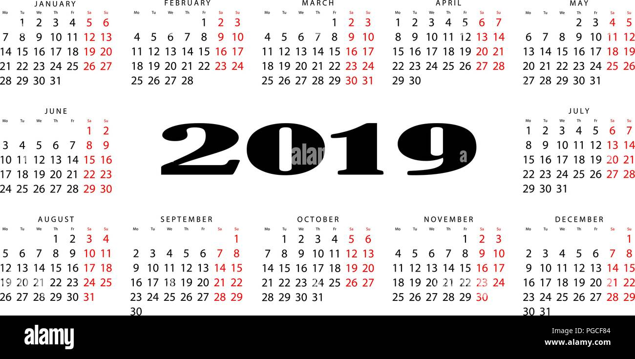 The horizontal calendar for 2019. Output is highlighted in red Stock Vector