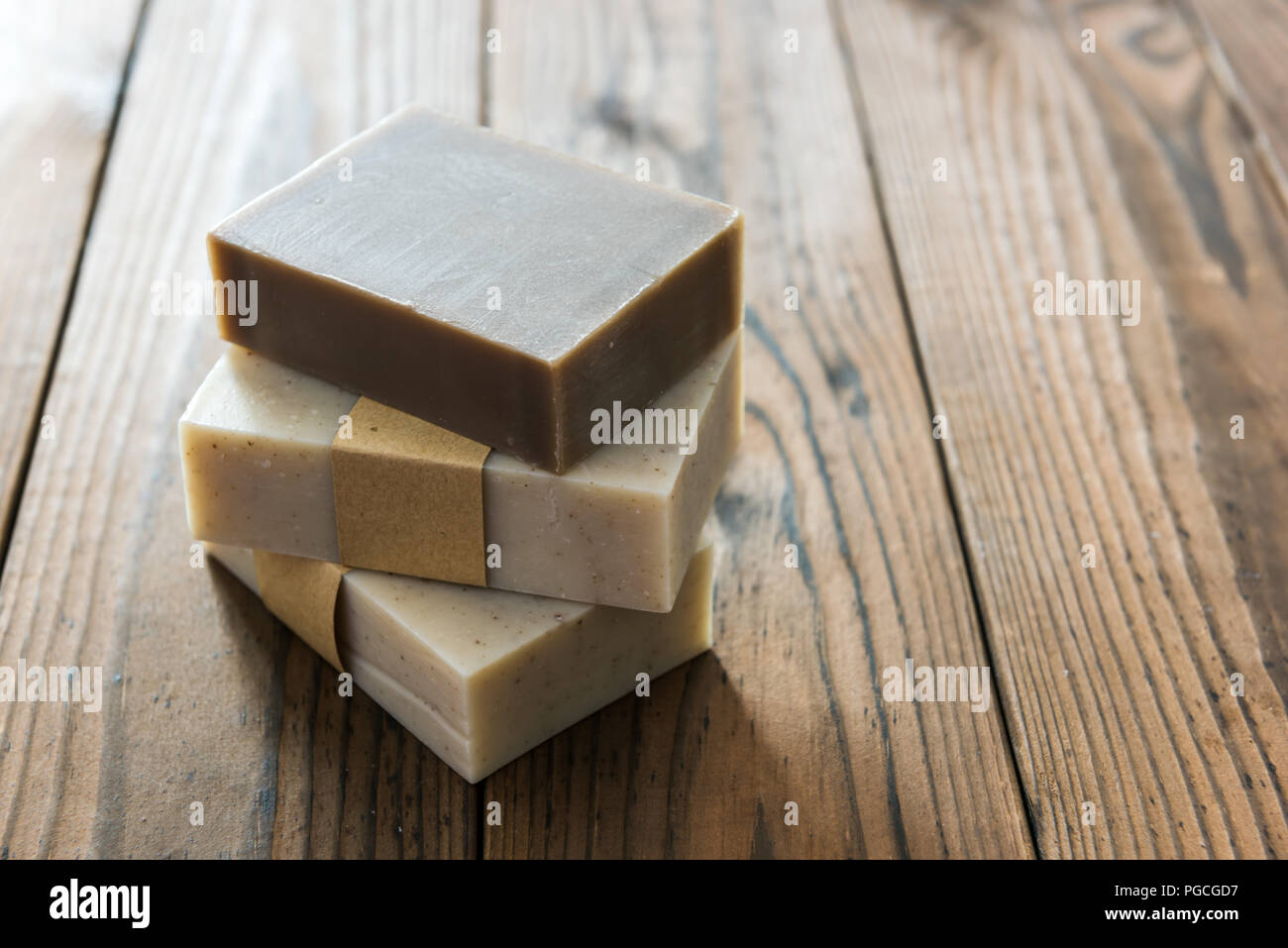 Handmade natural soap on wooden background Stock Photo