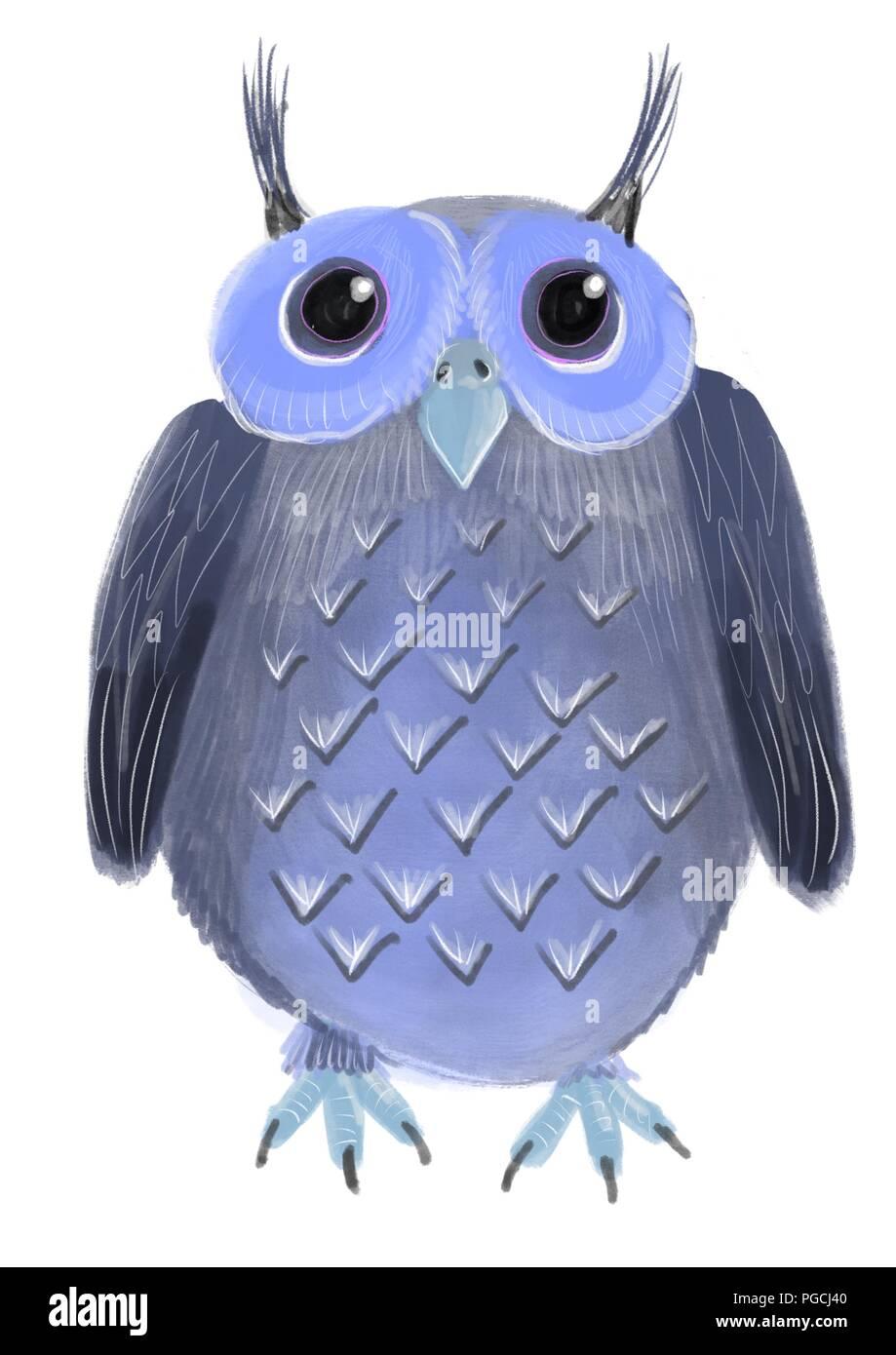 illustration of a cartoon owl - Stock Image