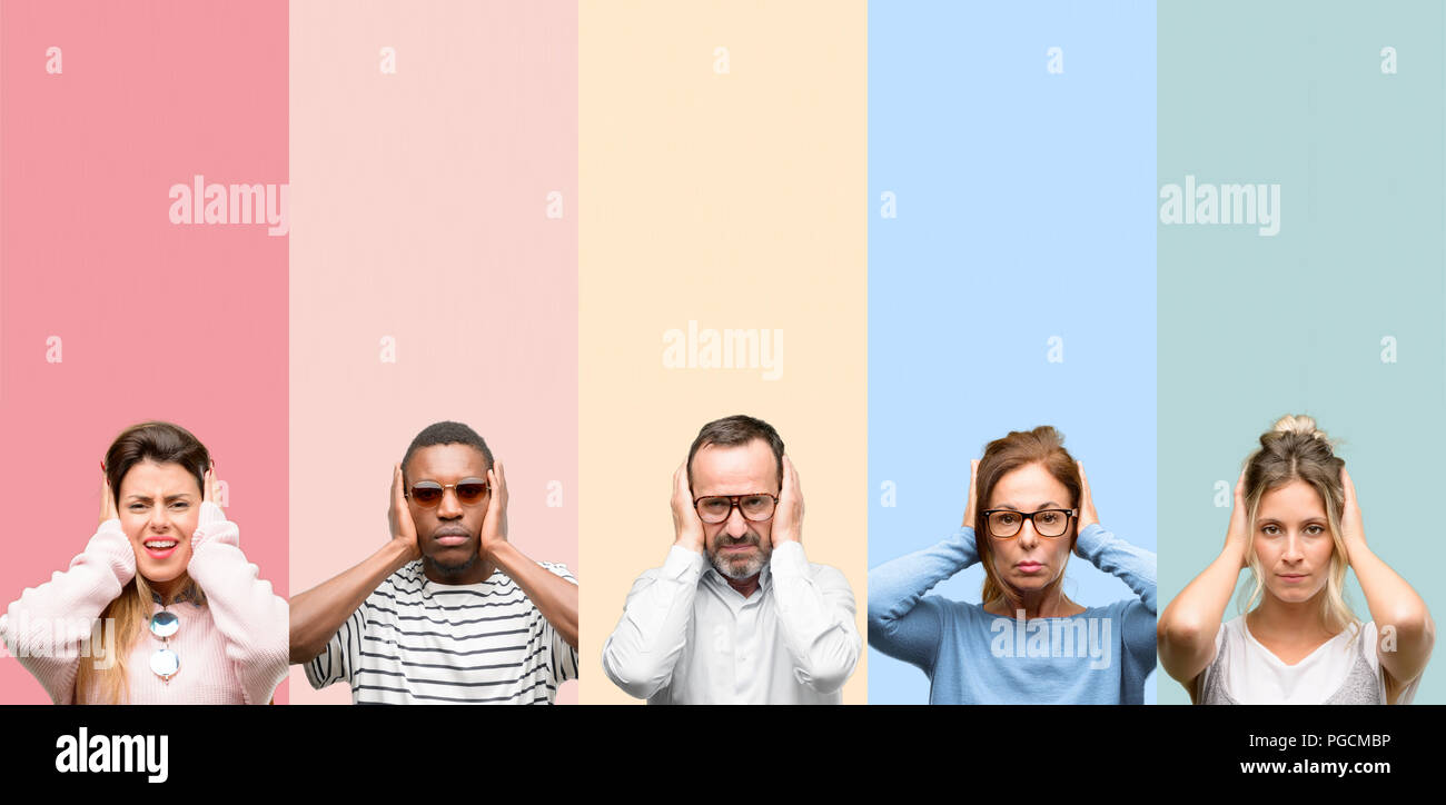 Mixed group of people, women and men covering ears ignoring annoying