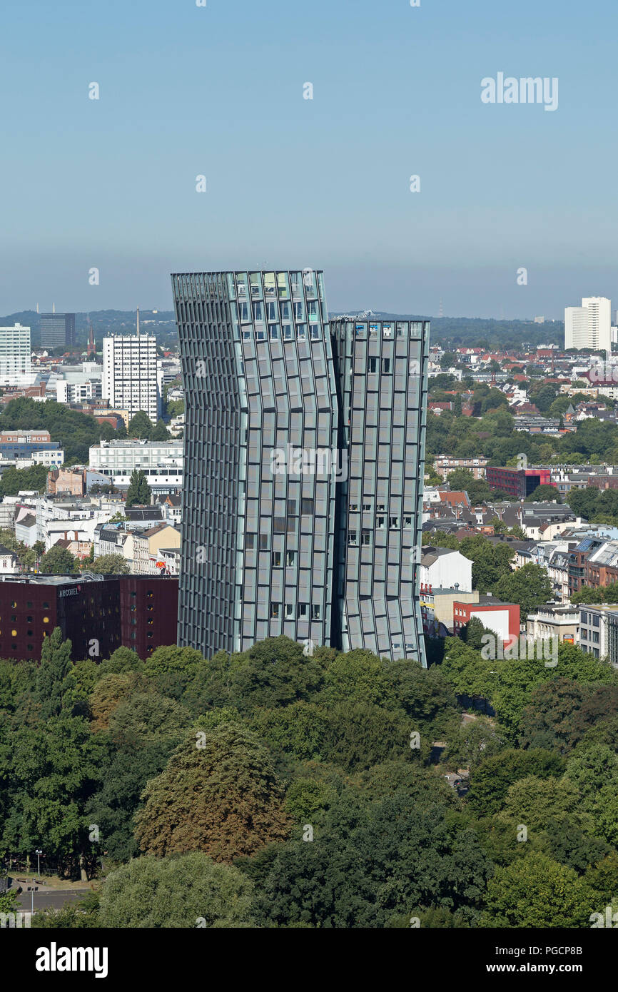 view of the Dancing Towers from the tower of St. Michael´s Church, Hamburg, Germany - Stock Image