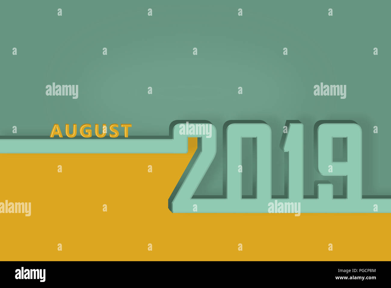template for a calendar page presentation or congratulations august of the new year 2019