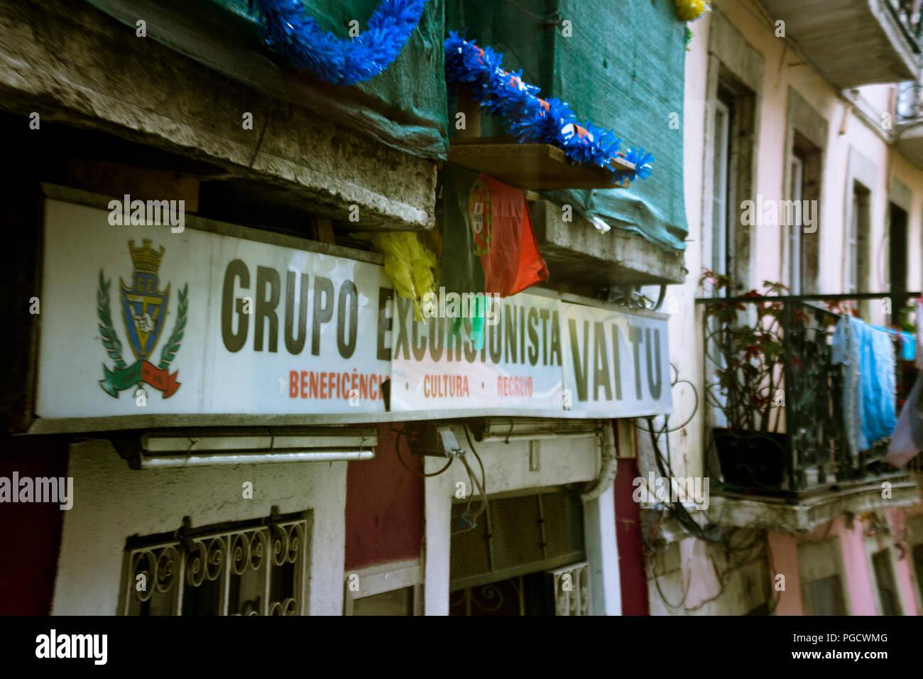 Label at street on Lisbon, Portugal - Stock Image