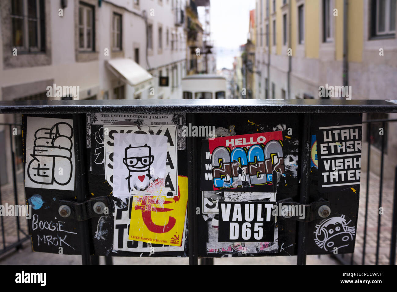 Streets on Lisbon, Portugal. Labels. - Stock Image