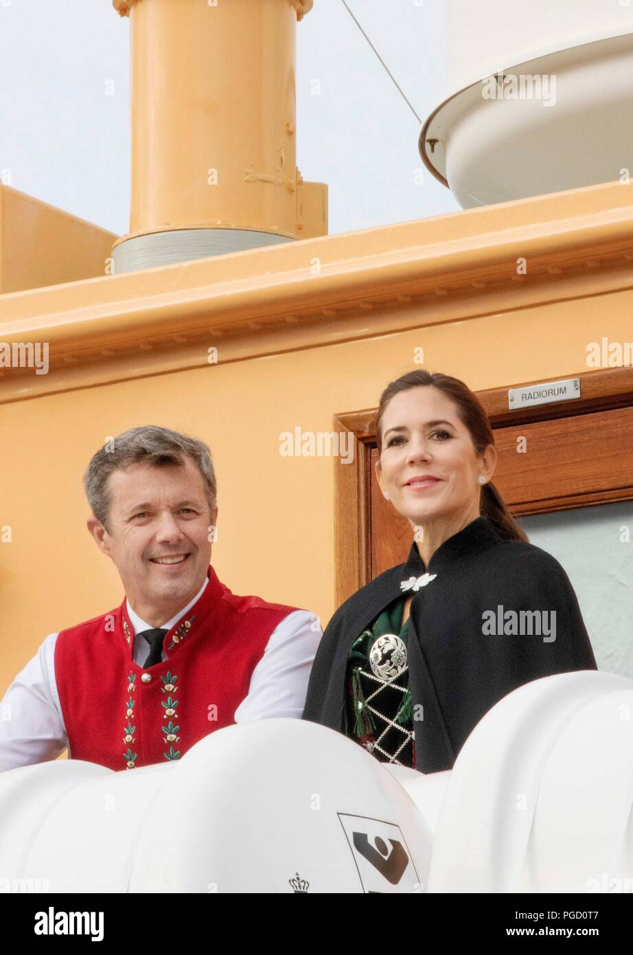 Crown Prince Frederik and Crown Princess Mary of Denmark arrive with the The Royal Ship, HDMY Dannebrog at Bakkafrost in Glyvrar, on August 25, 2018, on the 3rd of the 4 days visit to the Faroe Islands  Photo : Albert Nieboer /  Netherlands OUT / Point de Vue OUT | - Stock Image