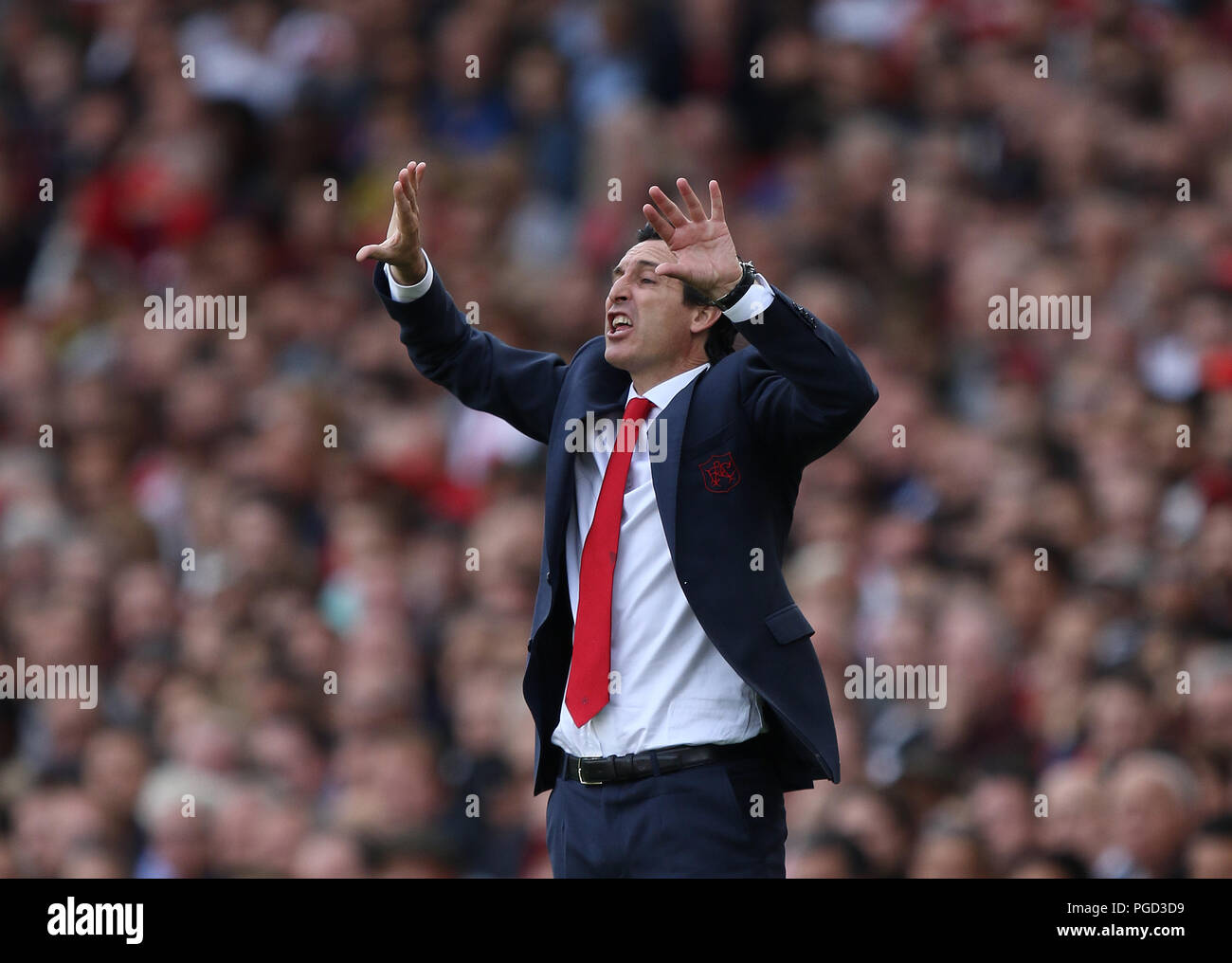 London, UK. 25th Aug 2018. Unai Emery (Arsenal manager) at the Arsenal v West Ham United English Premier League match at The Emirates Stadium, London, on August 25, 2018. **This picture is for editorial use only** Credit: Paul Marriott/Alamy Live News - Stock Image