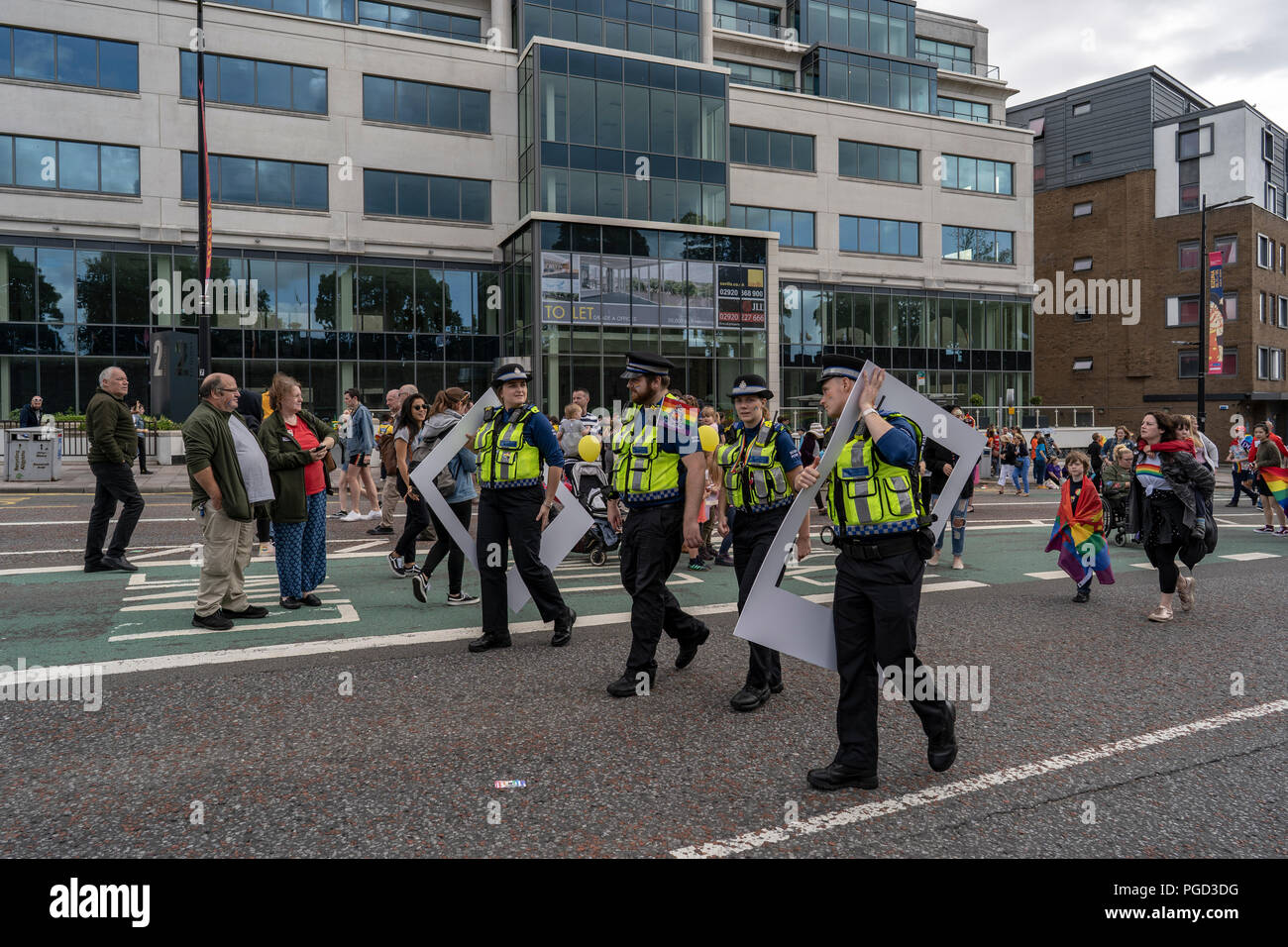Cardiff, Wales, August 25, 2018: Police constables participate at the  Annual Pride Cymru Parade  in Cardiff, Wales on August 25, 2018 Credit: Daniel Damaschin/Alamy Live News - Stock Image