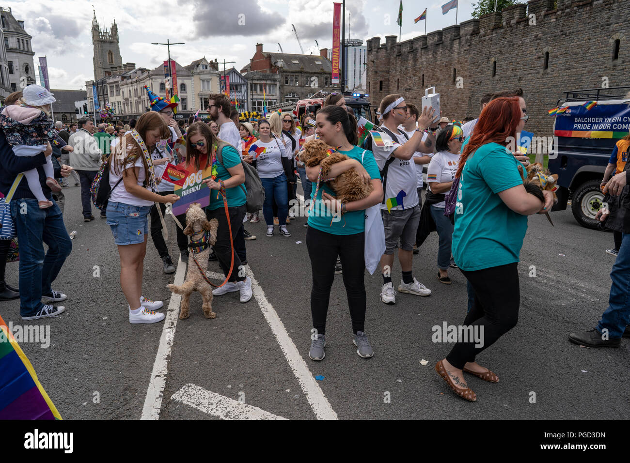 Cardiff, Wales, August 25, 2018: Marchers participate at the  Annual Pride Cymru Parade  in Cardiff, Wales on August 25, 2018 Credit: Daniel Damaschin/Alamy Live News - Stock Image