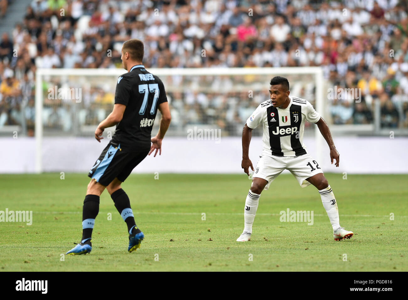 Turin Italy 25th Aug 2018 Adam Marusic Ss Lazio Alex Sandro