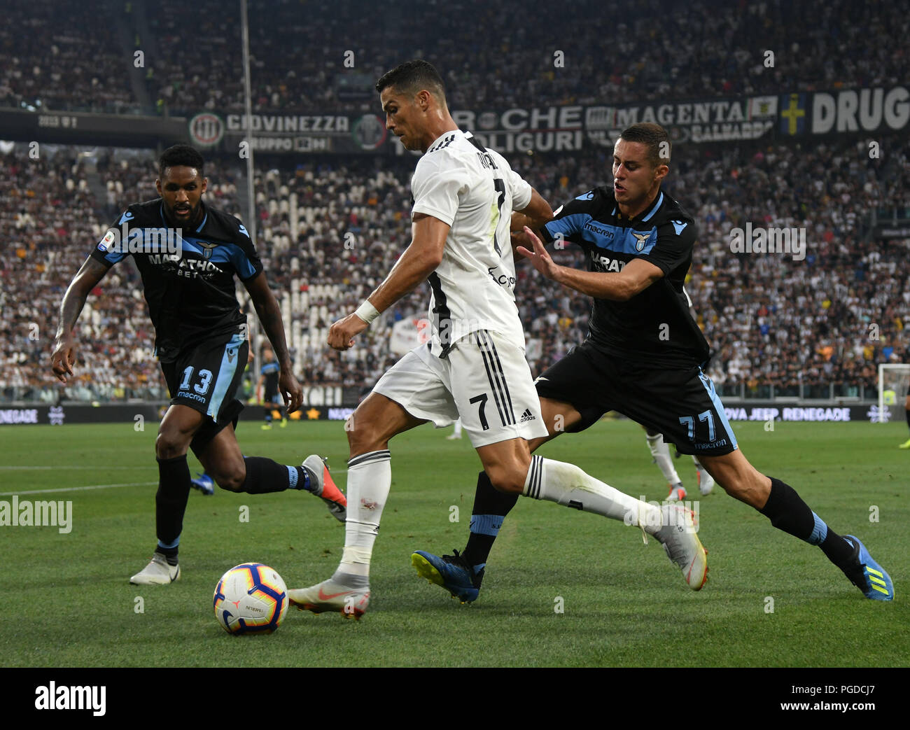3e02599a332 Juventus  Cristiano Ronaldo (C) vies with Adam Marusic (R) during the  Italian Serie A soccer match between Juventus and Lazio in Turin