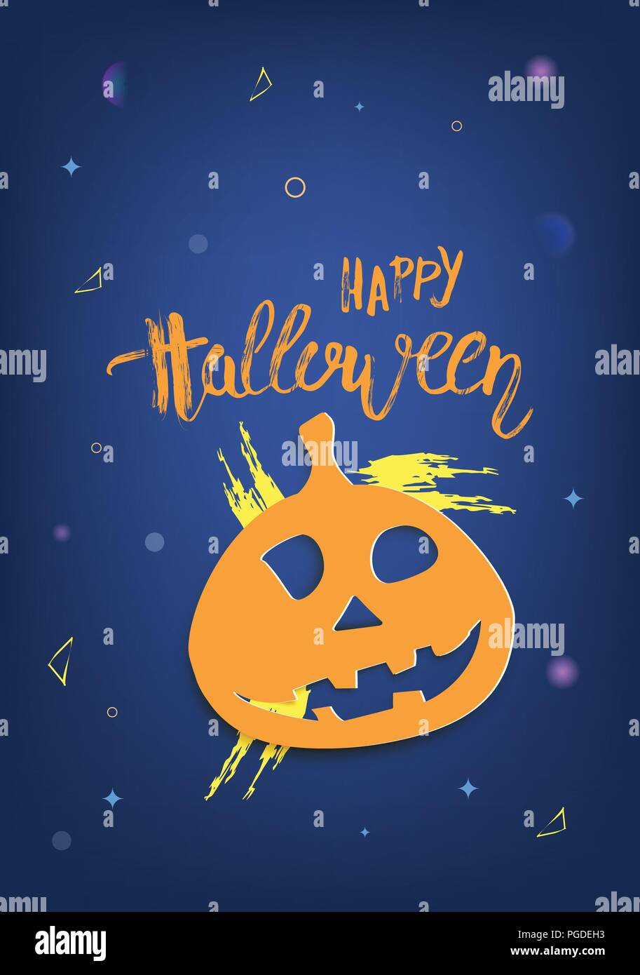 halloween party template with pumpkin shape decoration vertical