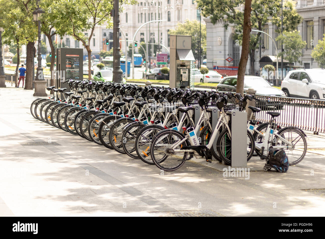 Station of bikesharing system in Madrid. - Stock Image