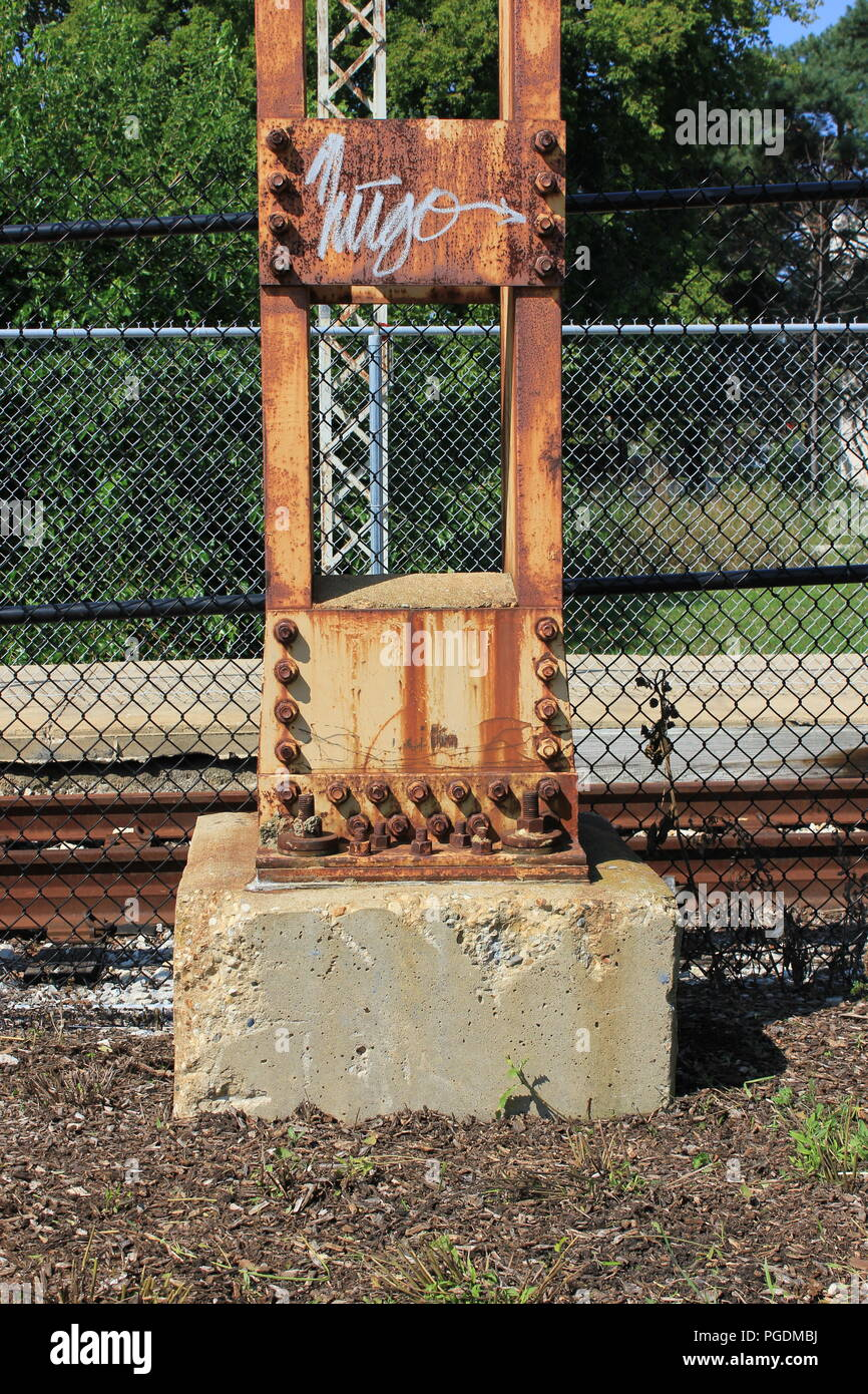 Rusted steel built up column of post at the CTA Yellow Line