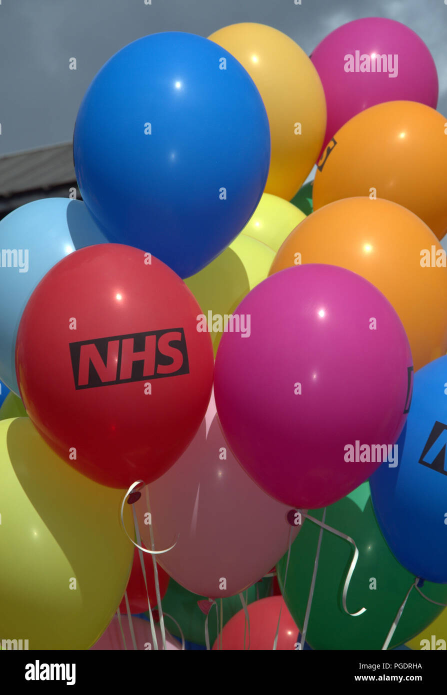 Balloons carried by participants in the NHS entry in Manchester LGBT Pride Parade 2018 - Stock Image