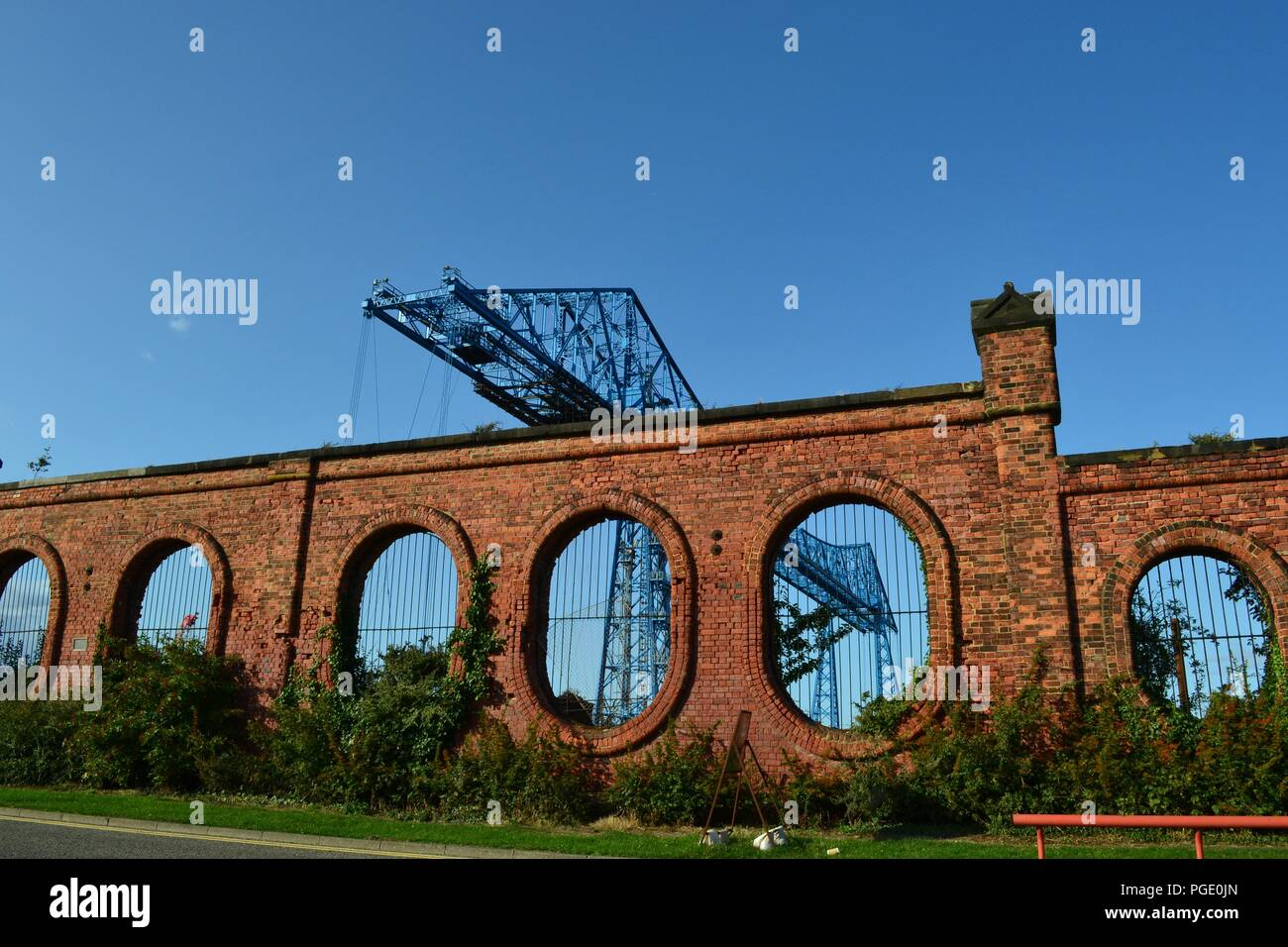 Stunning images of the famous Transporter Bridge, Middlesbrough, pictured through the windows of the historic old Salt works. - Stock Image