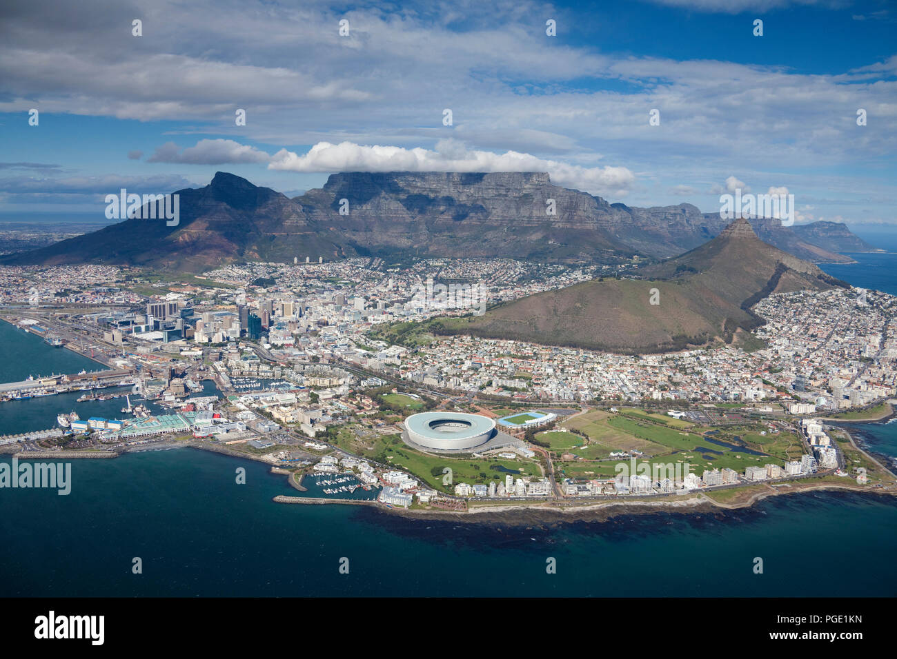 Cape Town Aerial View. Stock Photo