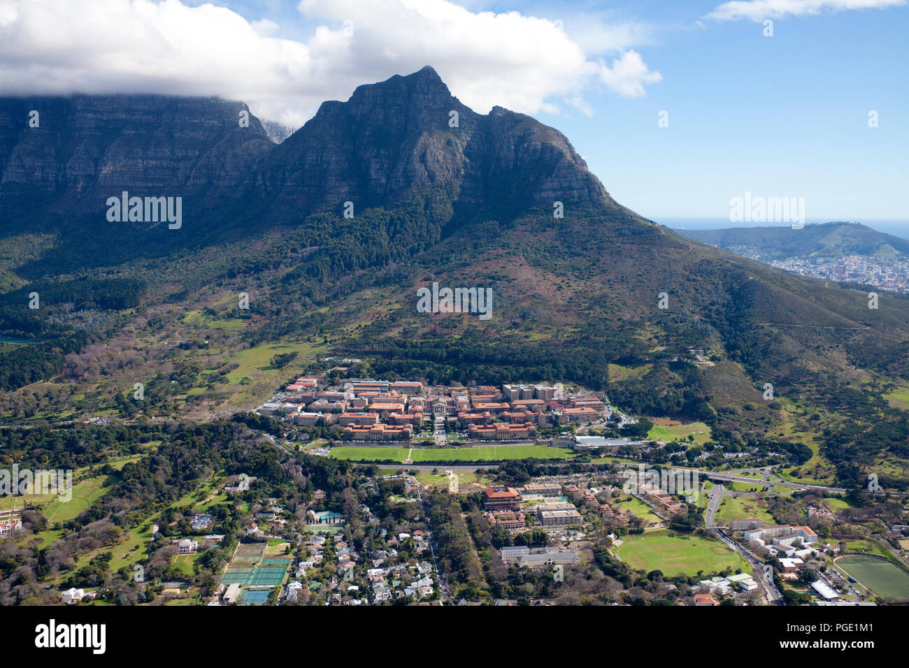 Cape Town University Aerial view. South Africa. Stock Photo