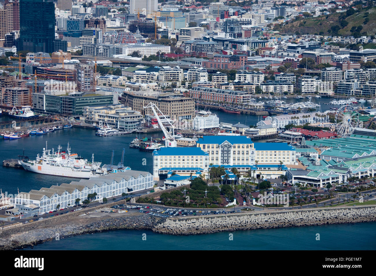 Victoria and Alfred Waterfront, Cape Town, South Africa, Aerial view. Stock Photo