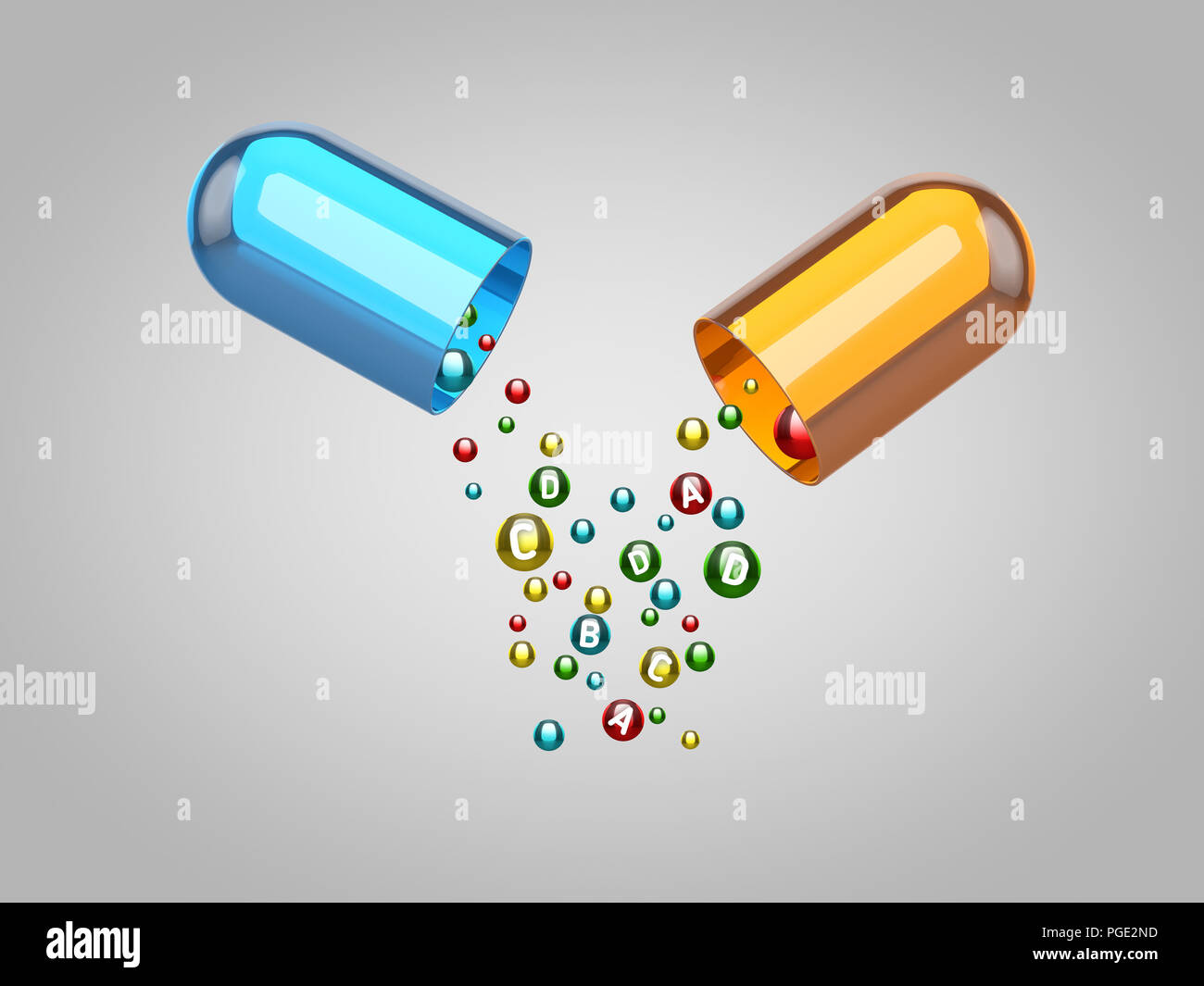 pile of rounded colorful vitamins falls from big plastic capsule divided in half - Stock Image