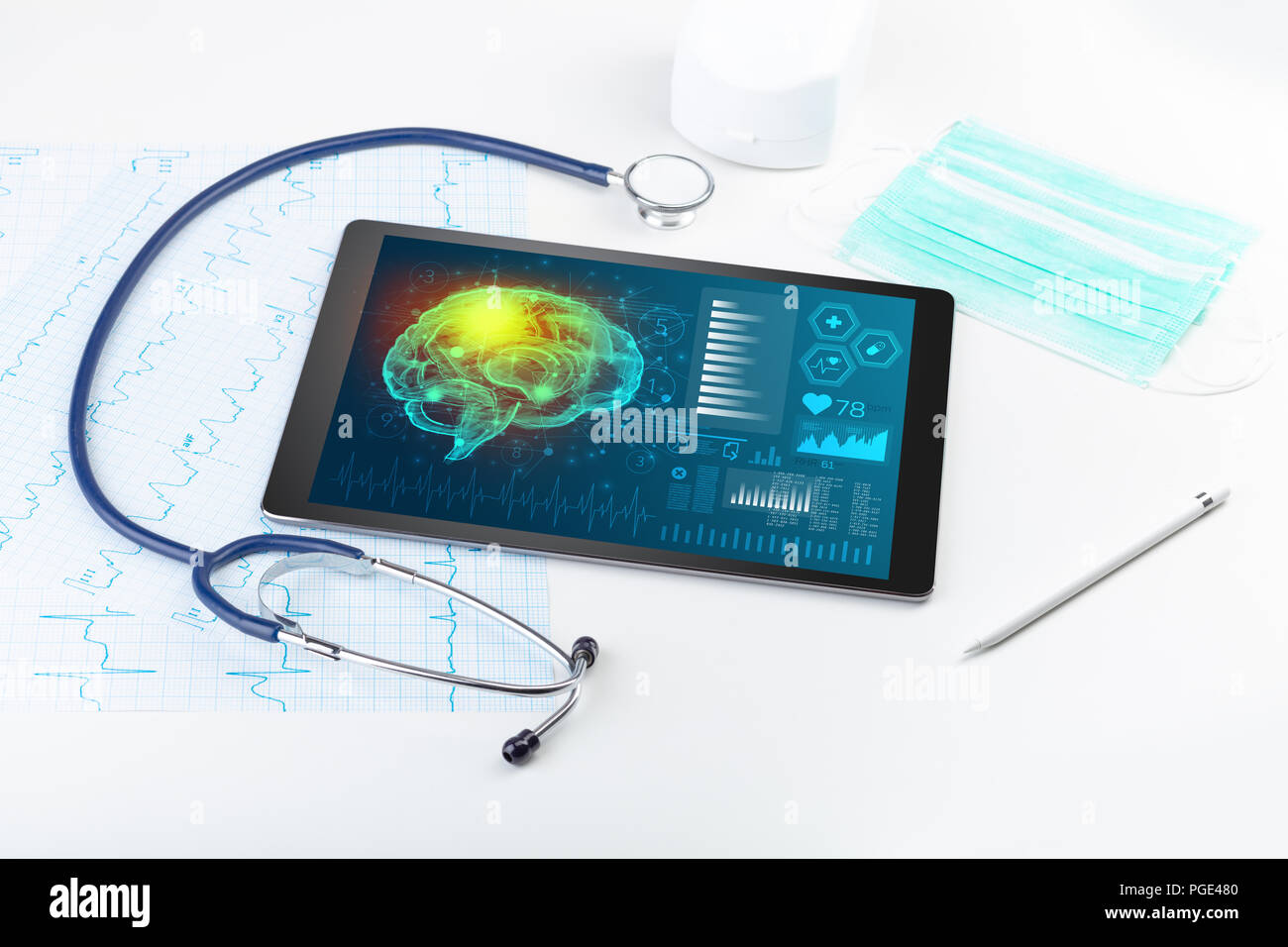 Brain functionality report with medical devices around  - Stock Image