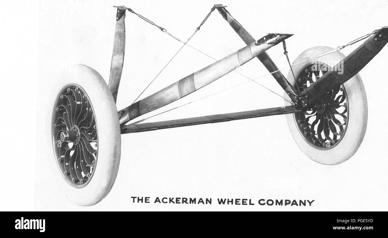 Airplanes - Wheels - Airplane material, misc. The Ackerman Wheel Company - Stock Image
