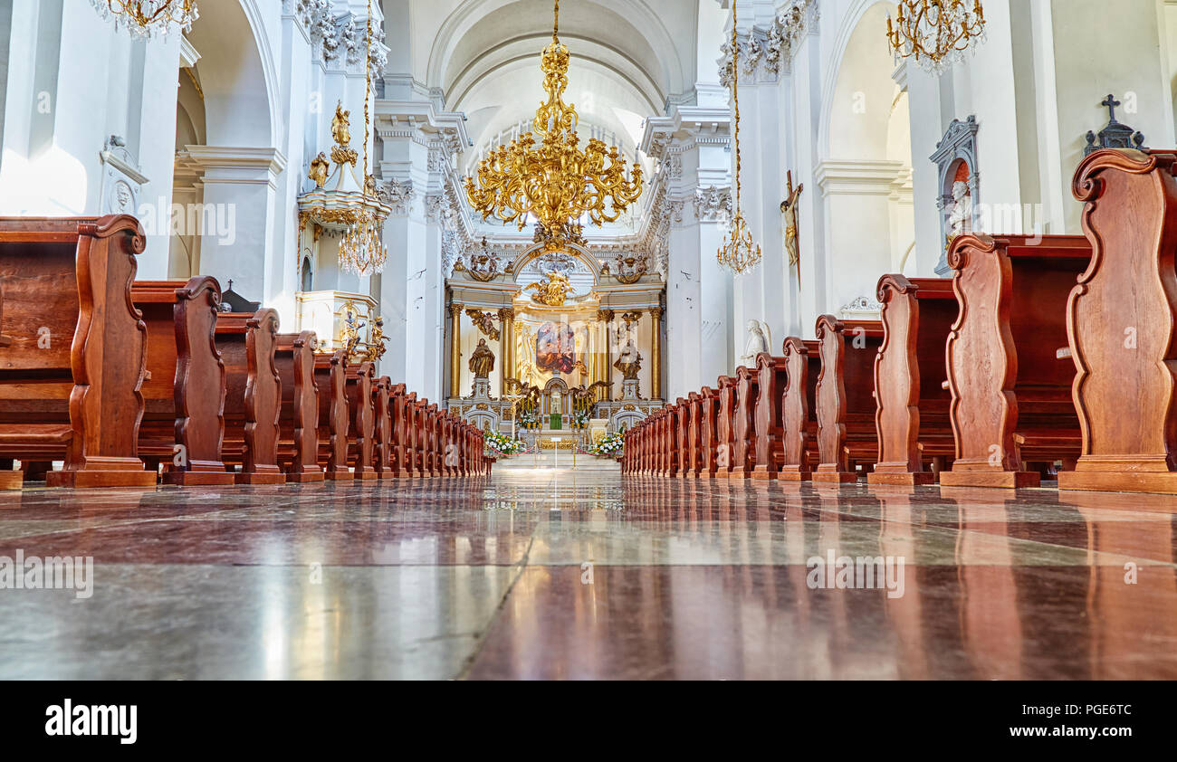Interior of one of the most notable rococo churches in Poland's capital - Church of St. Joseph of the Visitationists, Warsaw, Poland Stock Photo