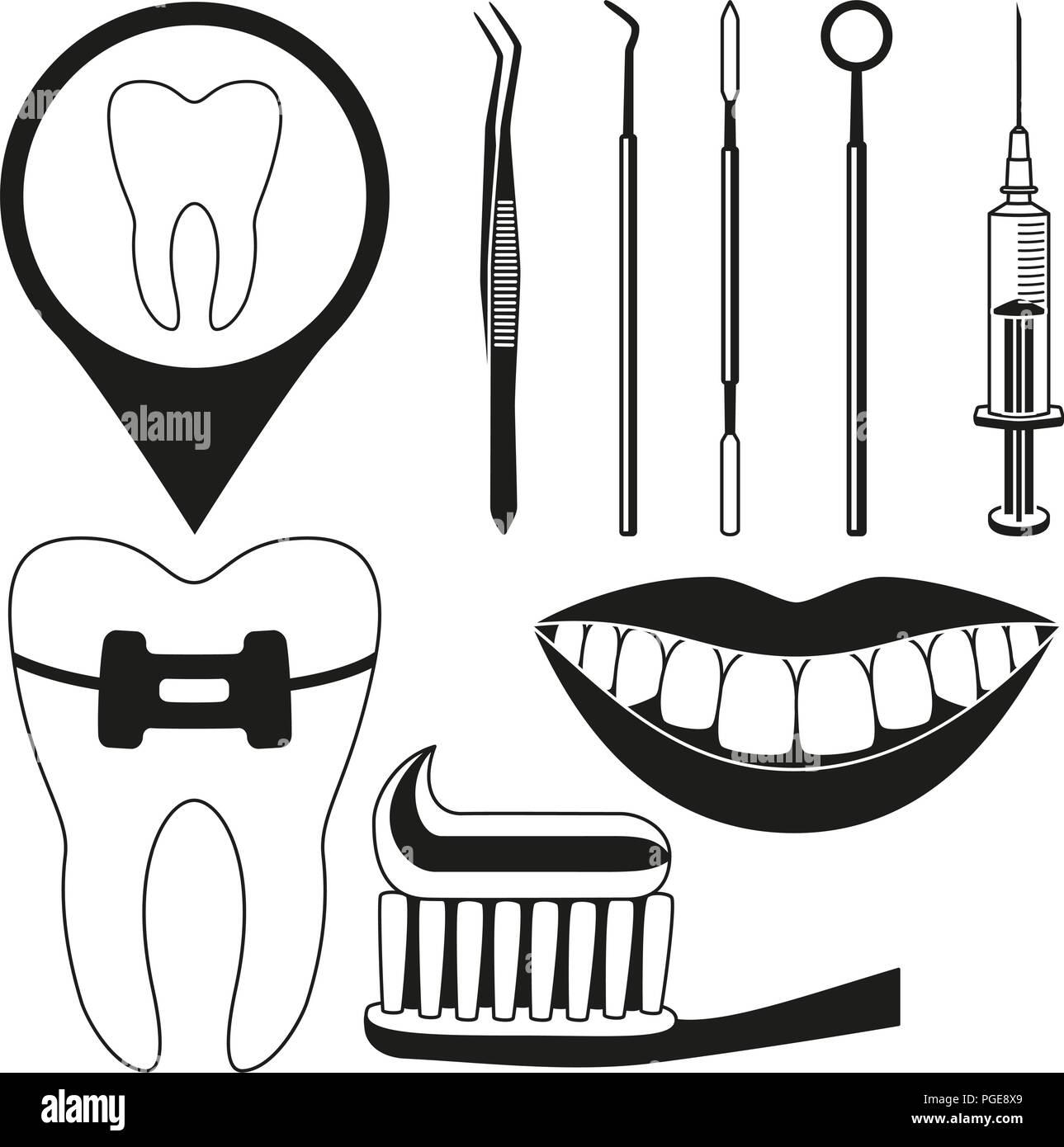 Black and white dental check silhouette set - Stock Vector