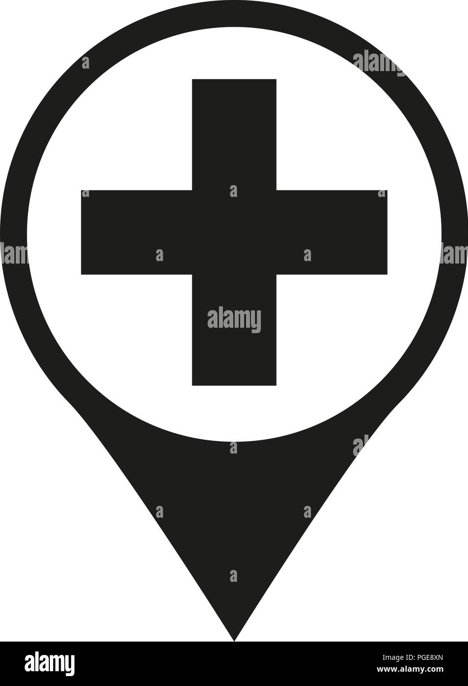 Black and white hospital map sign silhouette - Stock Vector