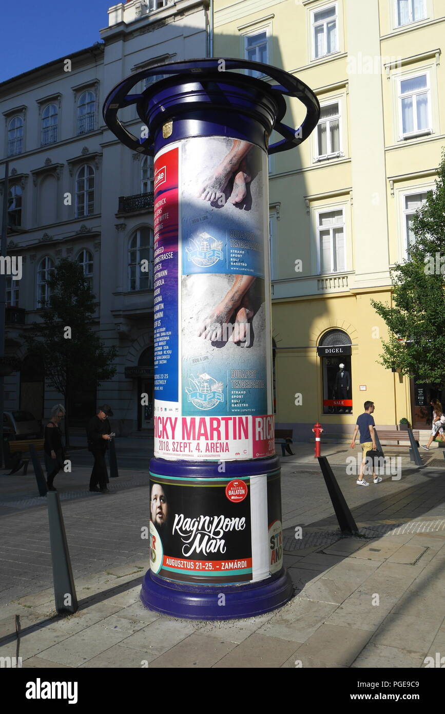 Morris column, advertising column, Budapest, Hungary - Stock Image