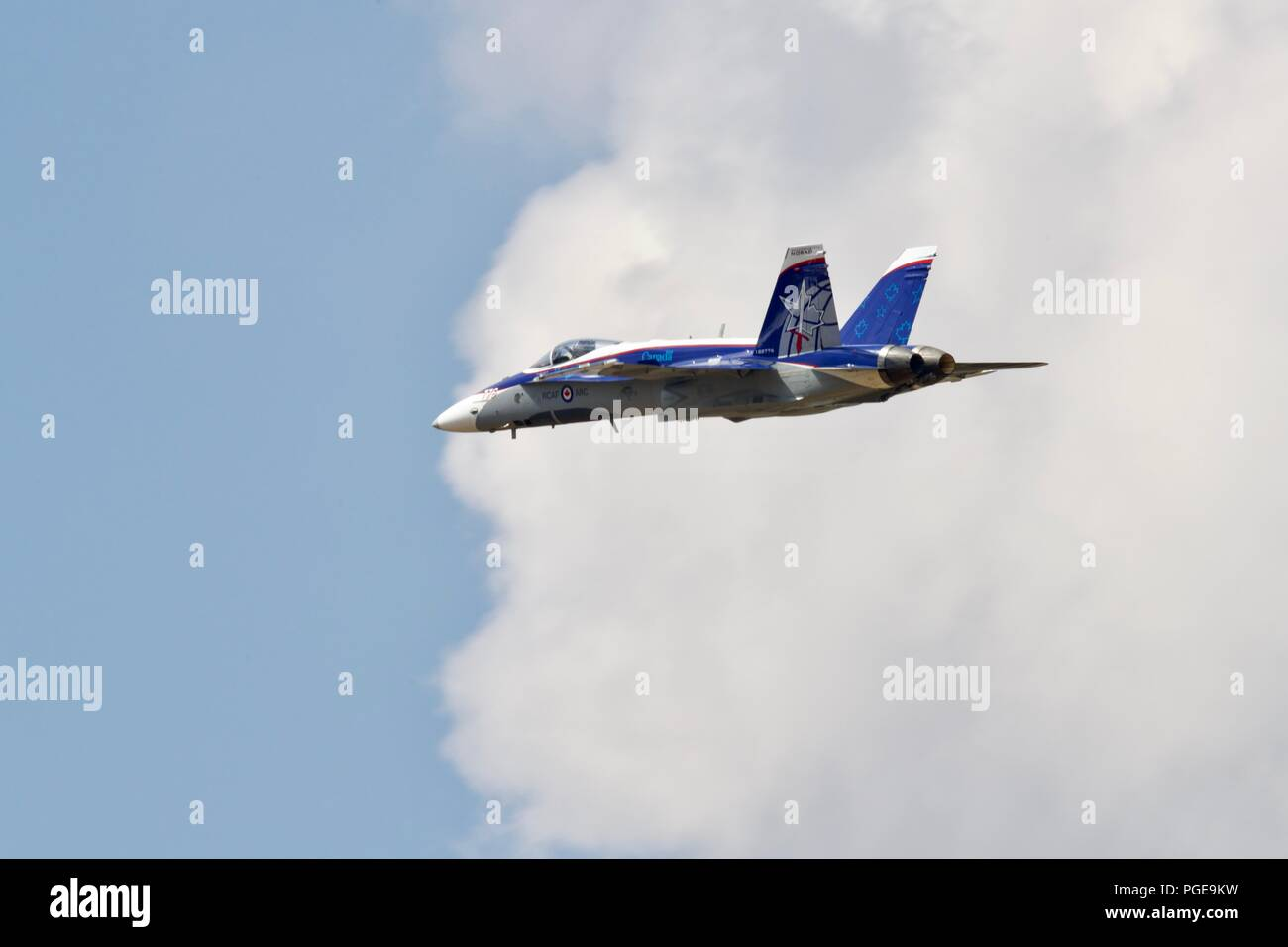 Royal Canadian Air Force CF-18 Hornet performing at RIAT 2018 with a impressive paint scheme commemorating 60 years of NORAD Stock Photo