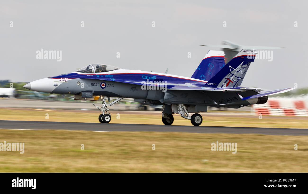 Royal Canadian Air Force CF-18 Hornet performing at RIAT 2018 with a impressive paint scheme commemorating 60 years of NORAD - Stock Image