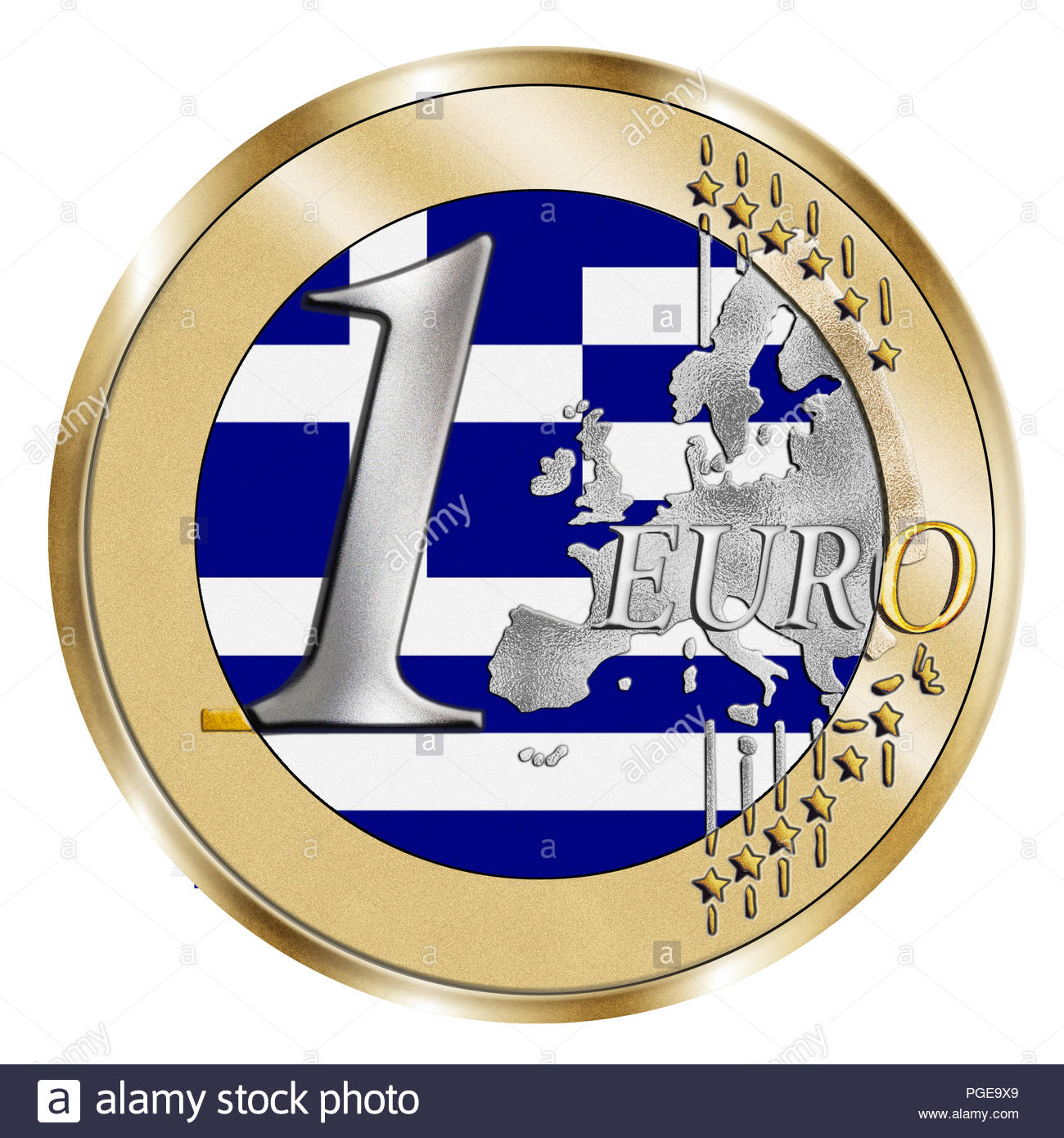 A montage of a stylised 1 Euro coin and the Greek national flag. A Photoshop composite with inlaid grain emphasises the vivid silver and gold effect . - Stock Image