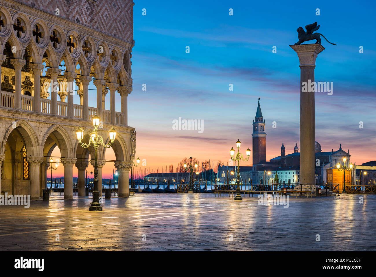 Famous San Marco square at night in Venice, Italy - Stock Image