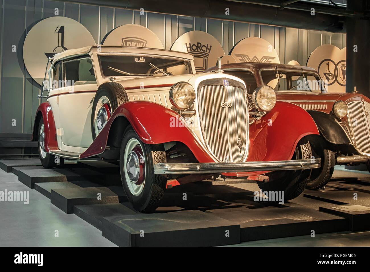 RIGA, LATVIA-APRIL 18, 2018: 1934 Audi Front Typ UW in the Riga Motor Museum. Stock Photo