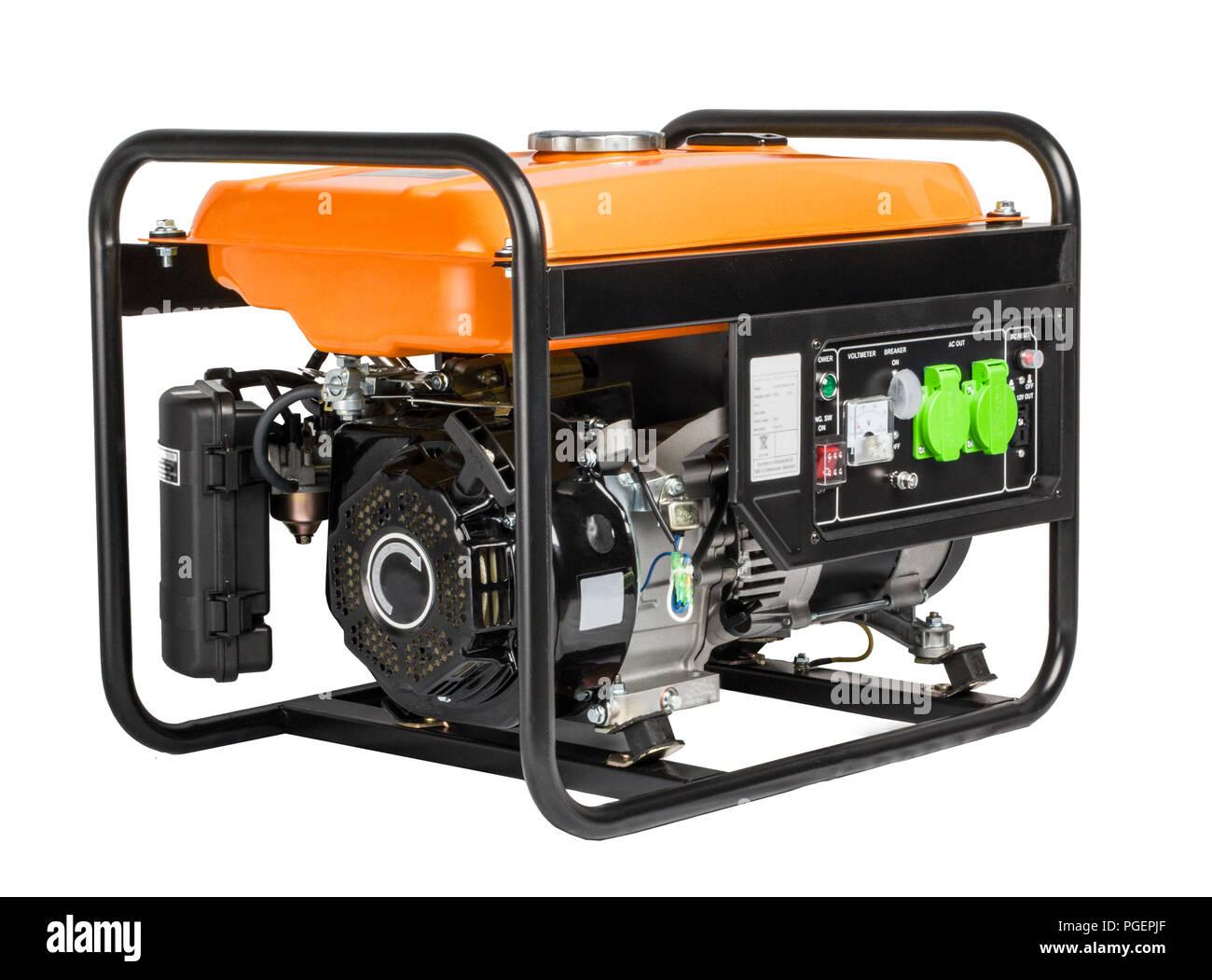 Electric AC Generator Alternator, isolated on white. Portable benzin generator. white background. Stock Photo