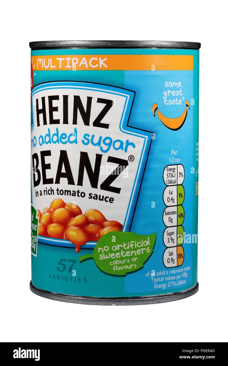 A Tin of Heinz no added sugar beanz baked beans isolated on a white background - Stock Image