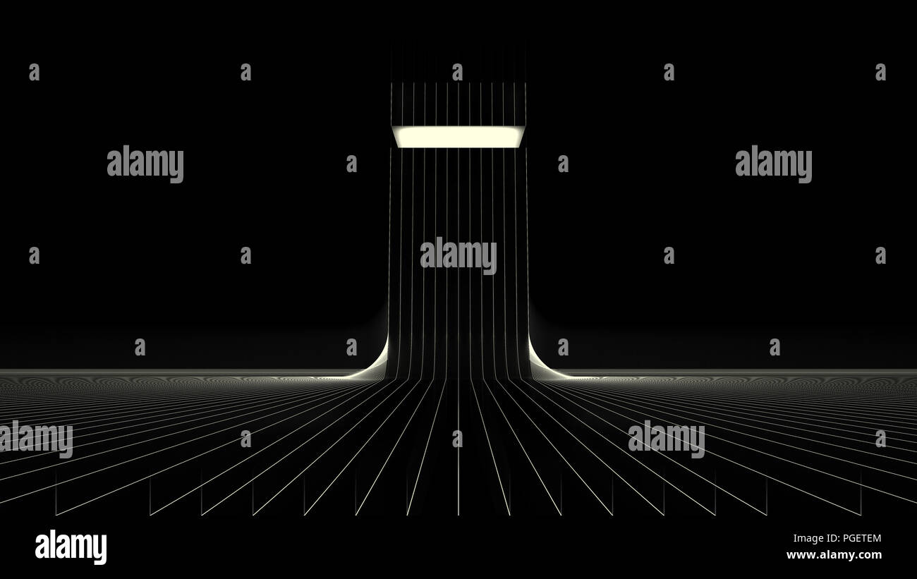 Building, 3d Illustration,3d Rendering Glow, Lines,Dark,Building Effects,White lines,white,glow,black & white - Stock Image