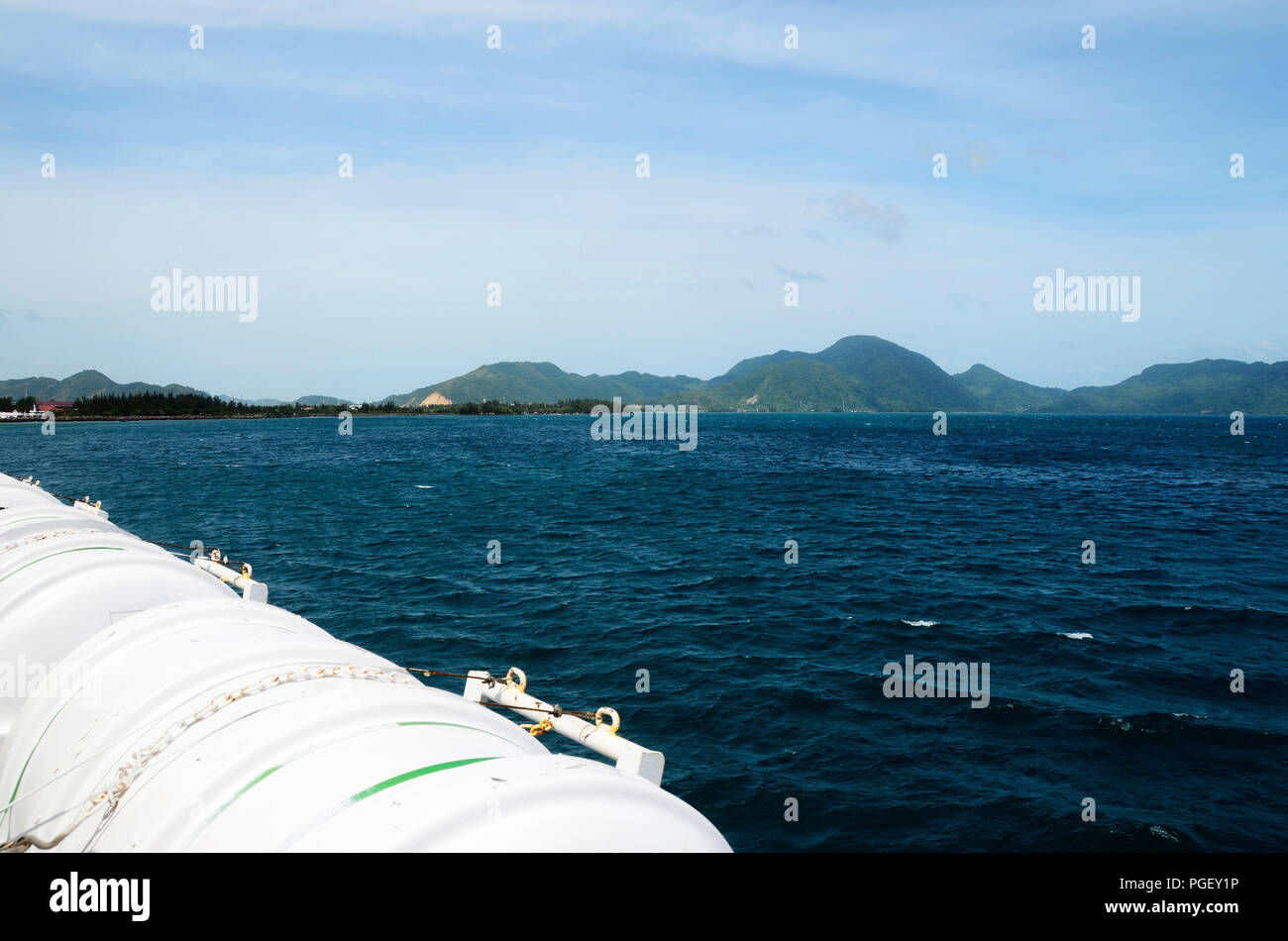 Banda Aceh sea coast landscape from ferry boat from Pulau Weh Stock Photo