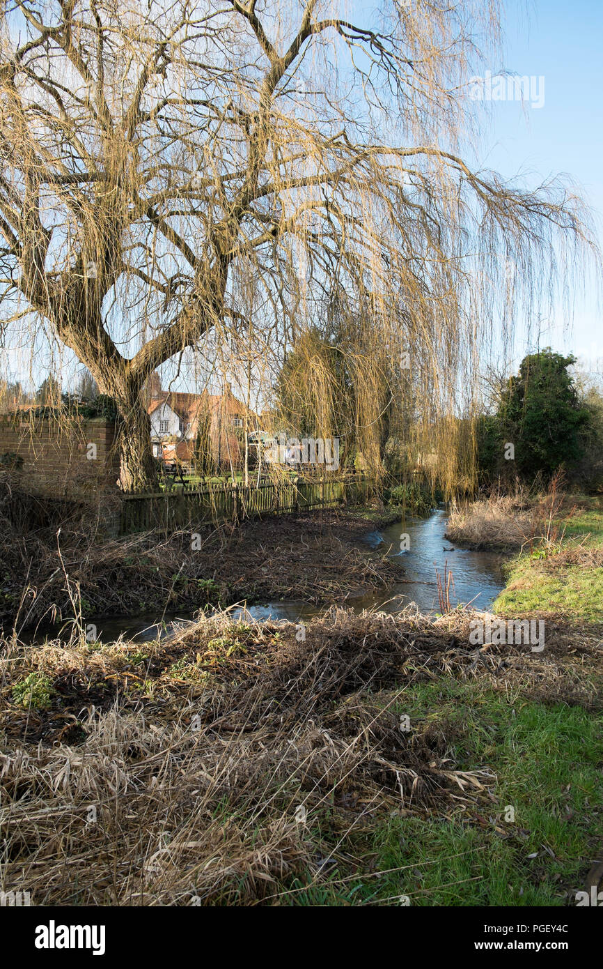 River Misbourne flowing through Chalfont St Giles, taken from public footpath with village pub in background - Stock Image