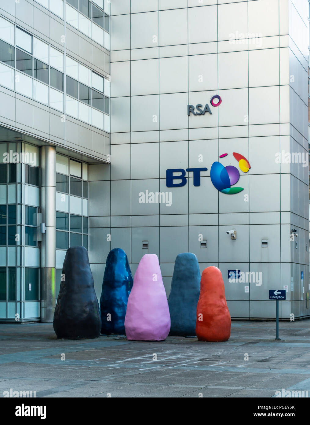 Entrance to the BT building in Atlantic Quay, Glasgow, featureing a modern sculpture. - Stock Image