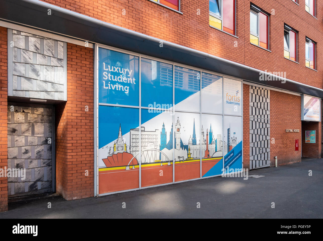 Exterior of private student accommodation run by Fortis, in Glasgow city centre. There is a stylised Glasgow 'skyline' artwork panel. - Stock Image
