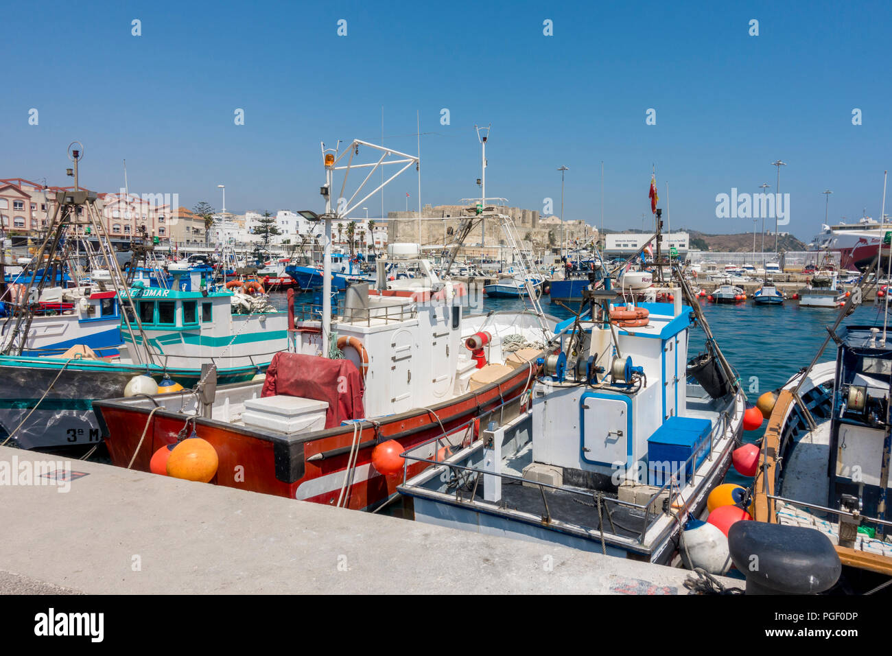 Small fishing boats at the fishing port of Tarifa, Costa de la Luz, Andalusia, Spain. Stock Photo