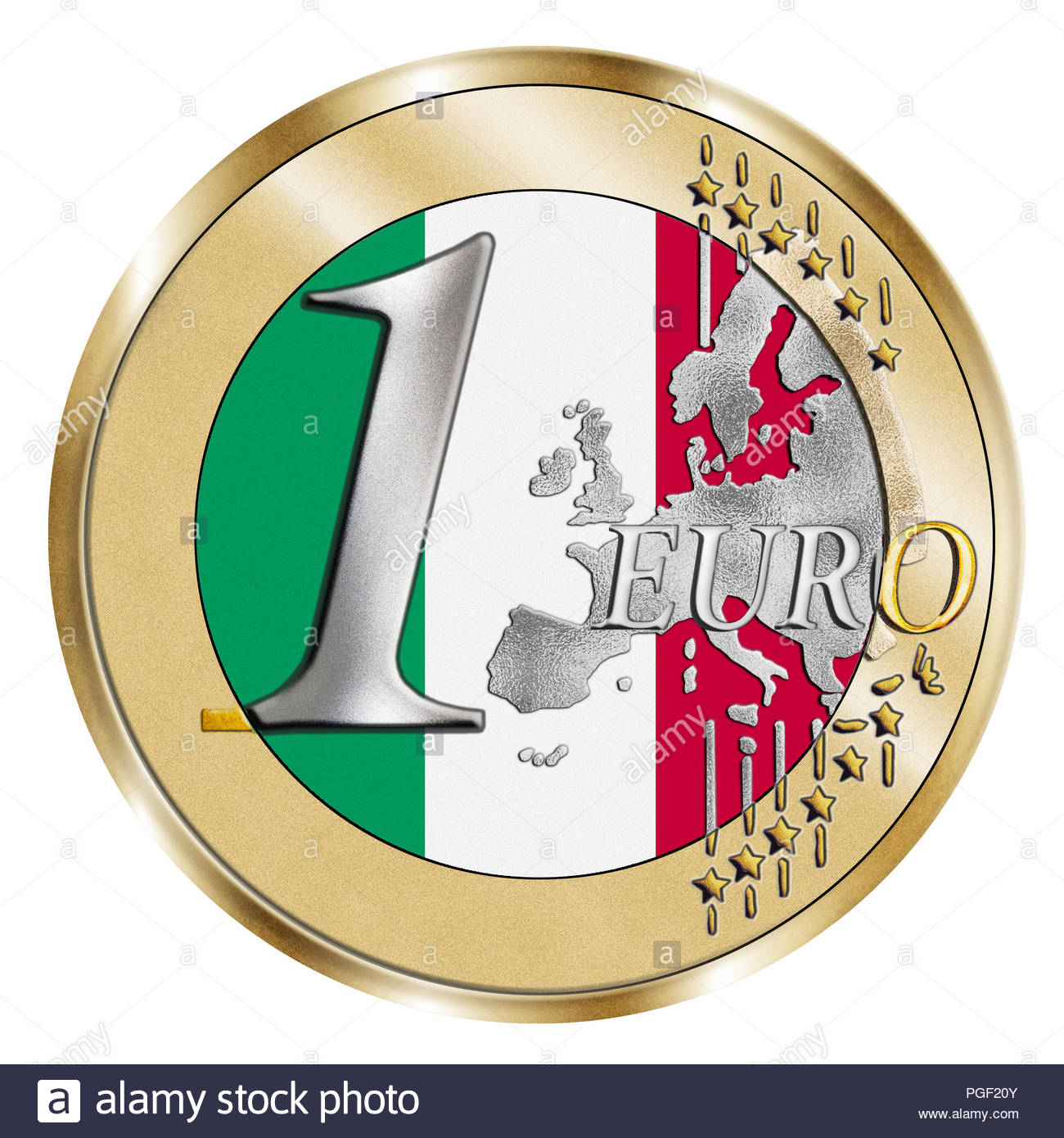A montage of a stylised 1 Euro coin and an Italian  flag. A Photoshop composite with inlaid grain emphasises the vivid silver and gold effect . - Stock Image