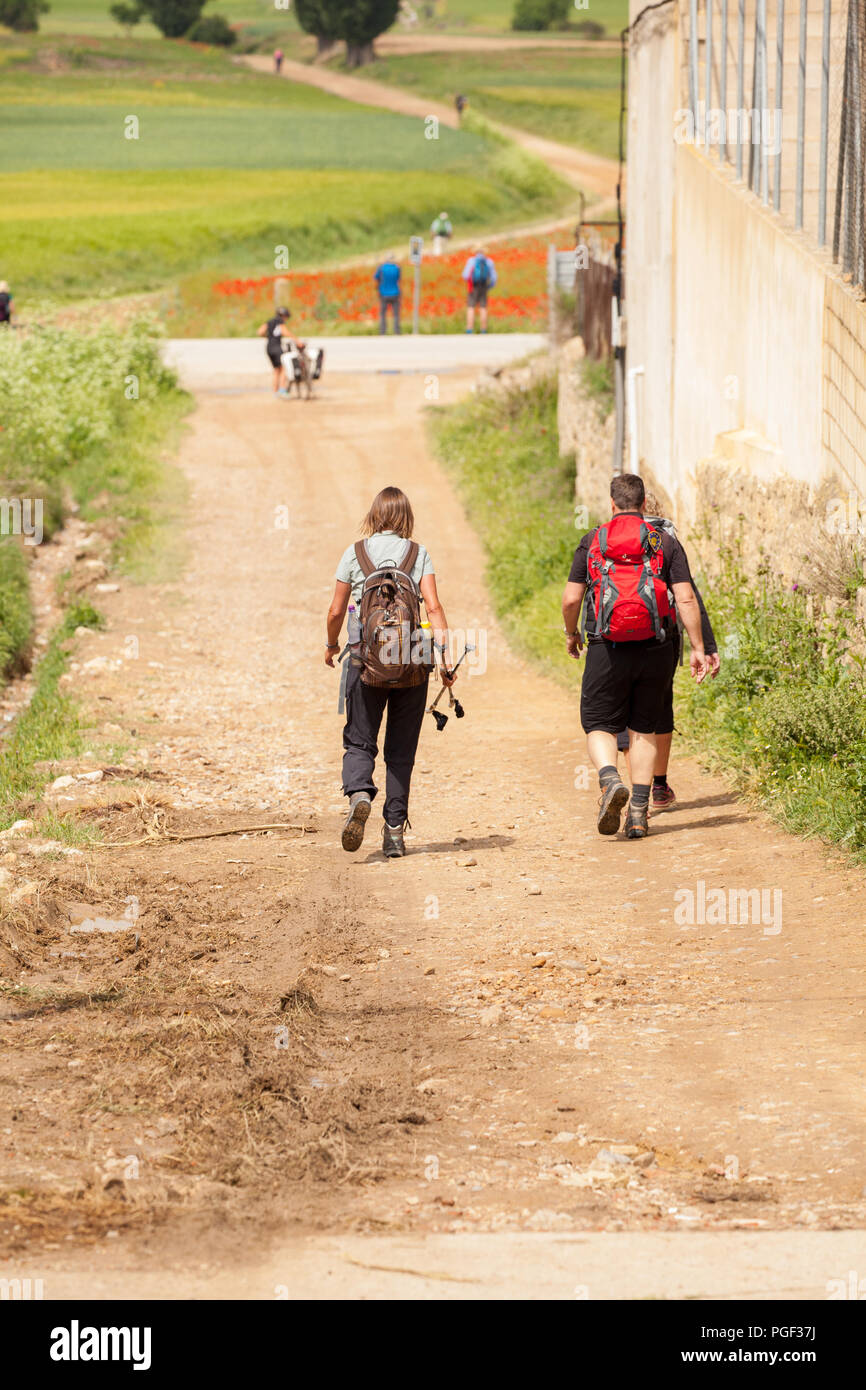 Man and woman pilgrims walking the way of St James the Camino de Santiago leaving the town of Castrojeriz Burgos Spain - Stock Image